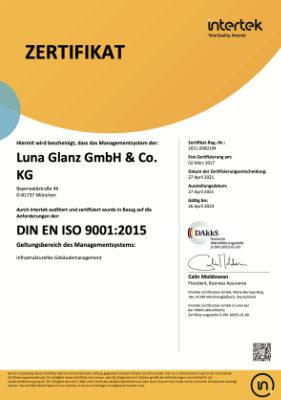 DIN9001 - Luna Glanz GmbH & Co KG - Professionelle Gebäudereinigung München, Facility Management München